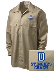 Dover School Stingers Embroidered Dickies Men's Long-Sleeve Workshirt