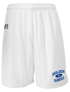 "Holder Elementary School Hawks  Russell Men's Mesh Shorts, 7"" Inseam"