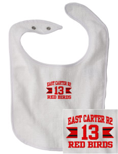 East Carter R2 School Red Birds Embroidered Baby Snap Terry Bib