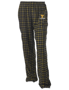 Tilton Elementary School Tigers Unisex Button-Fly Collegiate Flannel Pant with Distressed Applique