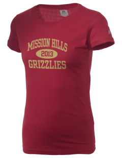 Mission Hills High School Grizzlies  Russell Women's Campus T-Shirt