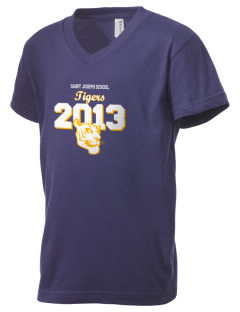Saint Joseph School Tigers Kid's V-Neck Jersey T-Shirt