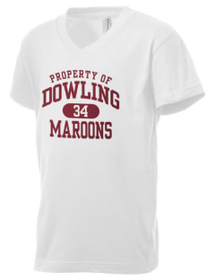 Dowling Catholic High School Maroons Kid's V-Neck Jersey T-Shirt