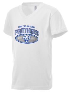 Christ The King School Panthers Kid's V-Neck Jersey T-Shirt