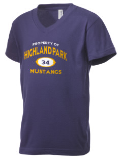 Highland Park Elementary School Mustangs Kid's V-Neck Jersey T-Shirt