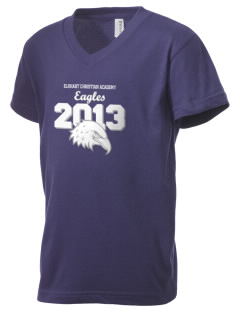 Elkhart Christian Academy Eagles Kid's V-Neck Jersey T-Shirt