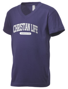 Christian Life School Knights Kid's V-Neck Jersey T-Shirt