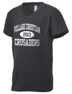 Village Christian Schools Crusaders Kid's V-Neck Jersey T-Shirt