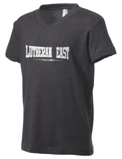 Lutheran High School East Falcons Kid's V-Neck Jersey T-Shirt