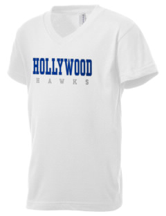 Hollywood Elementary School Hawks Kid's V-Neck Jersey T-Shirt