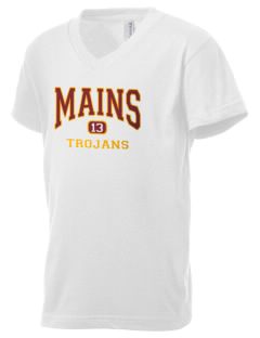 Mains Elementary School Trojans Kid's V-Neck Jersey T-Shirt