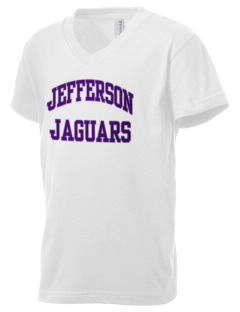 Jefferson Elementary School Jaguars Kid's V-Neck Jersey T-Shirt