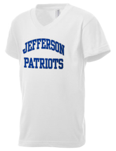 Jefferson Elementary School Patriots Kid's V-Neck Jersey T-Shirt