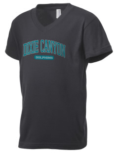 Dixie Canyon Elementary School Dolphins Kid's V-Neck Jersey T-Shirt
