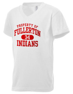 Fullerton High School Indians Kid's V-Neck Jersey T-Shirt