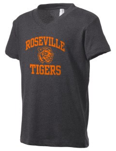 Roseville High School Tigers Kid's V-Neck Jersey T-Shirt