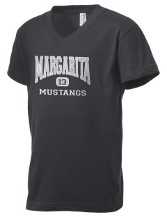 Margarita Middle School Mustangs Kid's V-Neck Jersey T-Shirt