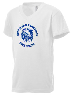 South San Francisco High School Warriors Kid's V-Neck Jersey T-Shirt