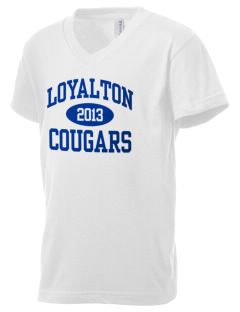 Loyalton Junior High School Cougars Kid's V-Neck Jersey T-Shirt