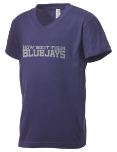 Ridgway School Bluejays Kid's V-Neck Jersey T-Shirt