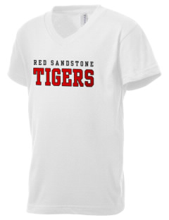 Red Sandstone Elementary School Tigers Kid's V-Neck Jersey T-Shirt