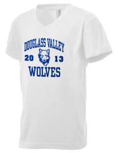 Douglass Valley Elementary School Wolves Kid's V-Neck Jersey T-Shirt