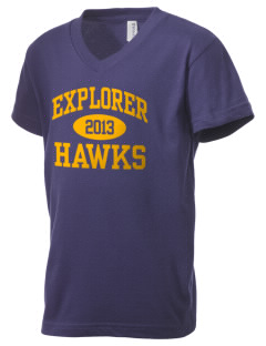 Explorer Elementary School Hawks Kid's V-Neck Jersey T-Shirt