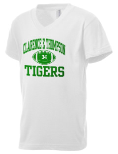 Clarence E Thompson Elementary School Tigers Kid's V-Neck Jersey T-Shirt