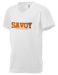 Savoy Elementary School Indians Kid's V-Neck Jersey T-Shirt