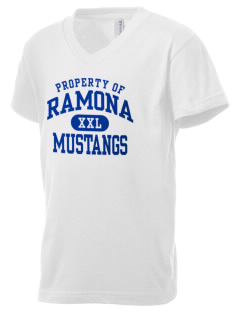 Ramona Elementary School Mustangs Kid's V-Neck Jersey T-Shirt