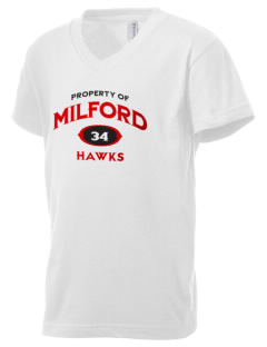 Milford High School Hawks Kid's V-Neck Jersey T-Shirt