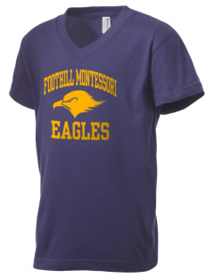 Foothill Montessori School Eagles Kid's V-Neck Jersey T-Shirt