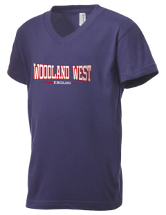 Woodland West Elementary School Eagles Kid's V-Neck Jersey T-Shirt