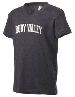 Ruby Valley Elementary School Mustangs Kid's V-Neck Jersey T-Shirt