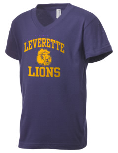 Leverette Junior High School Lions Kid's V-Neck Jersey T-Shirt