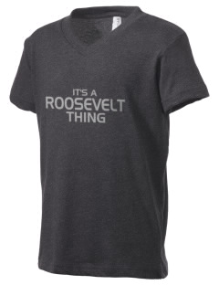 Roosevelt Junior High School Roosevelts Kid's V-Neck Jersey T-Shirt