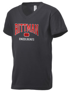 Rittman High School Indians Kid's V-Neck Jersey T-Shirt
