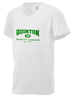 Quinton High School Savages Kid's V-Neck Jersey T-Shirt