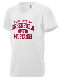 Greenfield Elementary School Mustangs Kid's V-Neck Jersey T-Shirt
