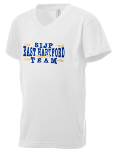 St Isaac Jogues Parish East Hartford Kid's V-Neck Jersey T-Shirt