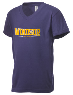 Windsor High School Blue Devils Kid's V-Neck Jersey T-Shirt