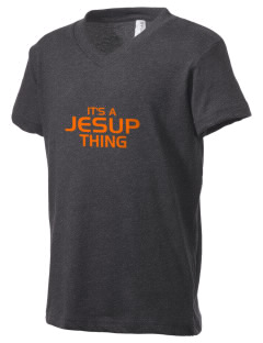 Jesup High School J-Hawks Kid's V-Neck Jersey T-Shirt