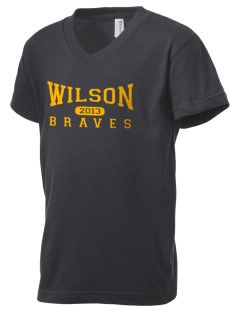 Wilson Middle School Braves Kid's V-Neck Jersey T-Shirt