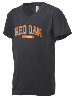 Red Oak Middle School Tigers Kid's V-Neck Jersey T-Shirt