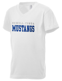 Newell-Fonda Middle School Mustangs Kid's V-Neck Jersey T-Shirt