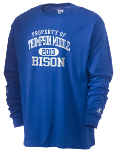 Thompson Middle Elementary School Bison  Russell Men's Long Sleeve T-Shirt