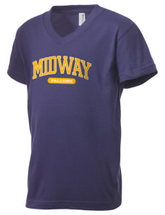 Midway Elementary School Falcons Kid's V-Neck Jersey T-Shirt