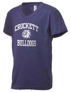 Crockett Elementary School Bulldogs Kid's V-Neck Jersey T-Shirt