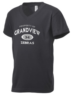 Grandview Elementary School Zebras Kid's V-Neck Jersey T-Shirt