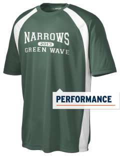 Narrows High School Green Wave Men's Dry Zone Colorblock T-Shirt